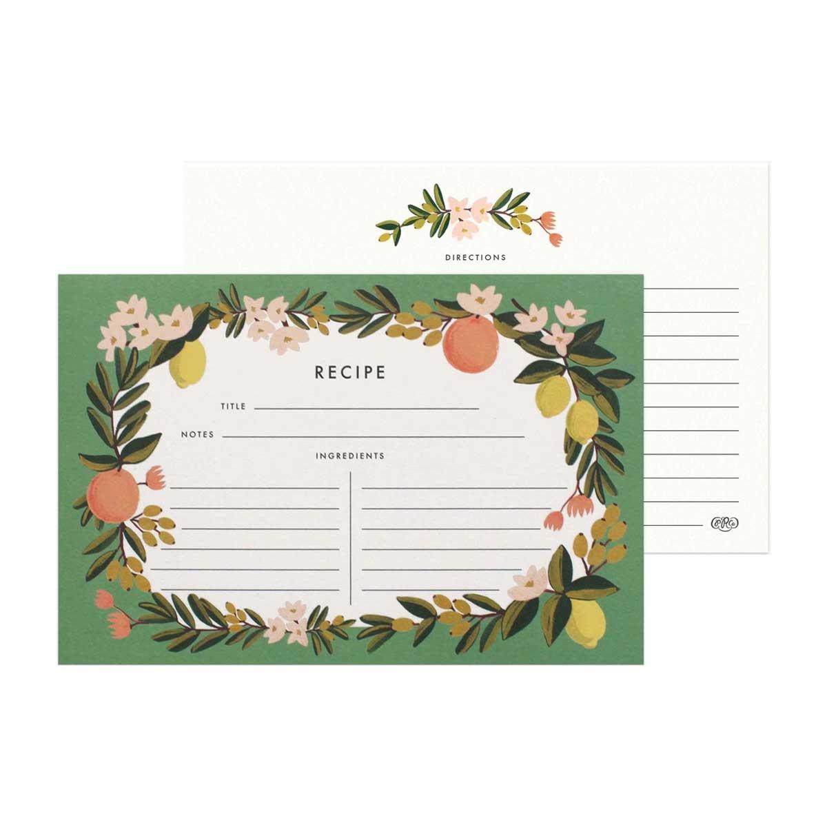 Rifle Paper Co. Tarjetas para recetas Citrus Floral | Pack de 12 |Likely.es