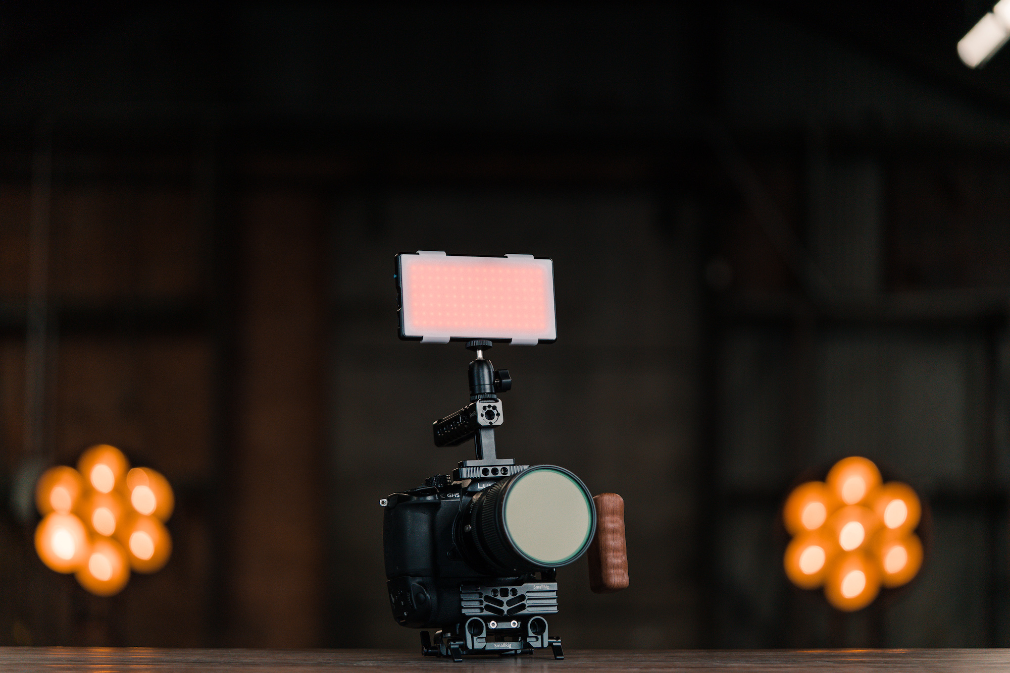 panel pro attached to the top of a dslr camera
