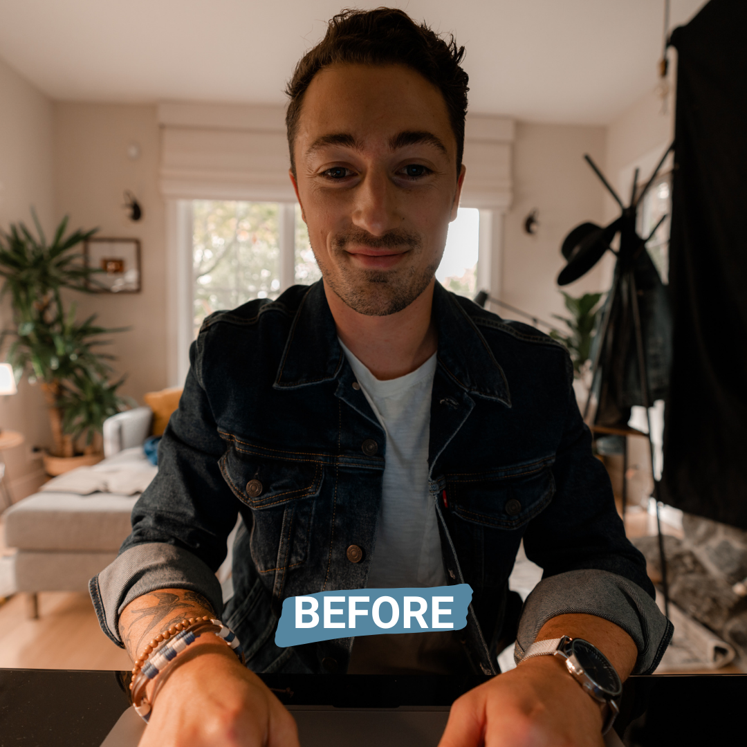 before photo of man using laptop without the broadcast lighting kit