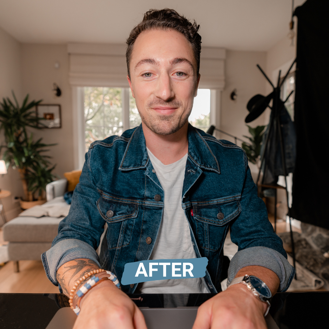 after photo of man using the broadcast lighting kit