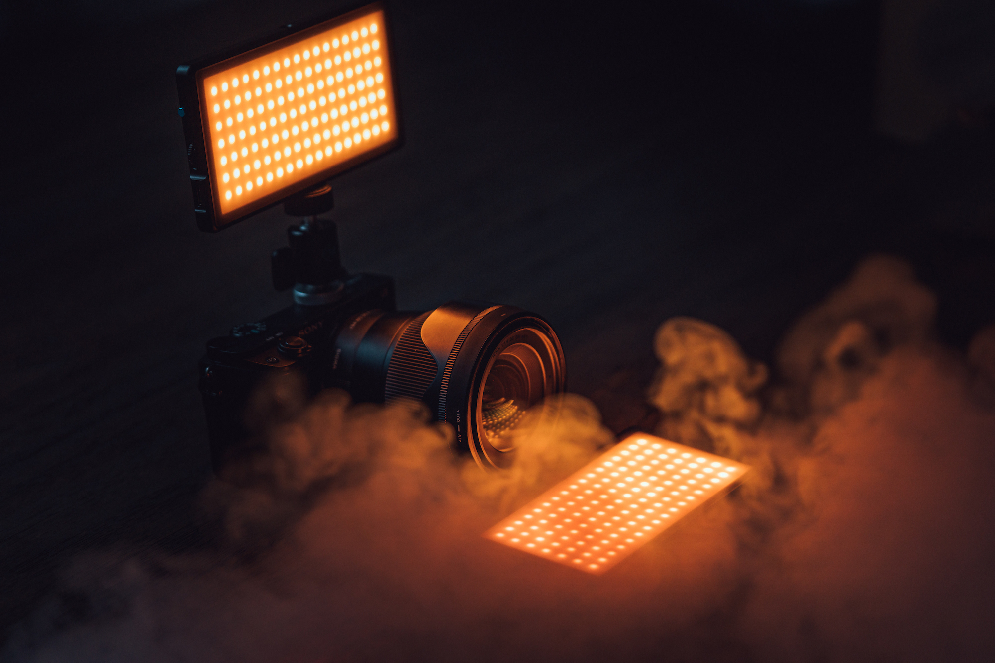 panel pro on top of camera surrounded by smoke