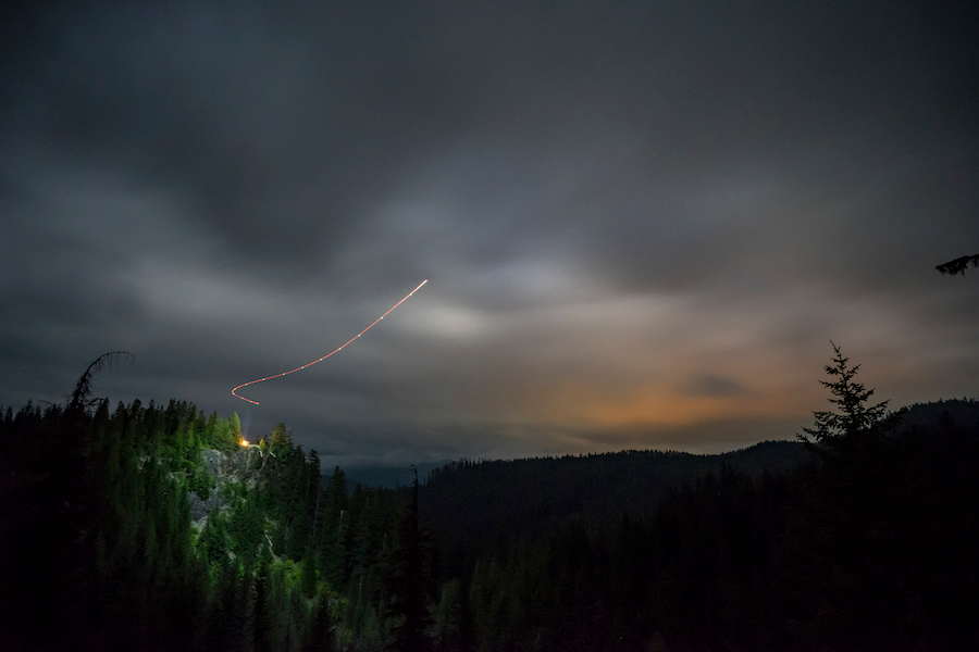 night sky with light trail