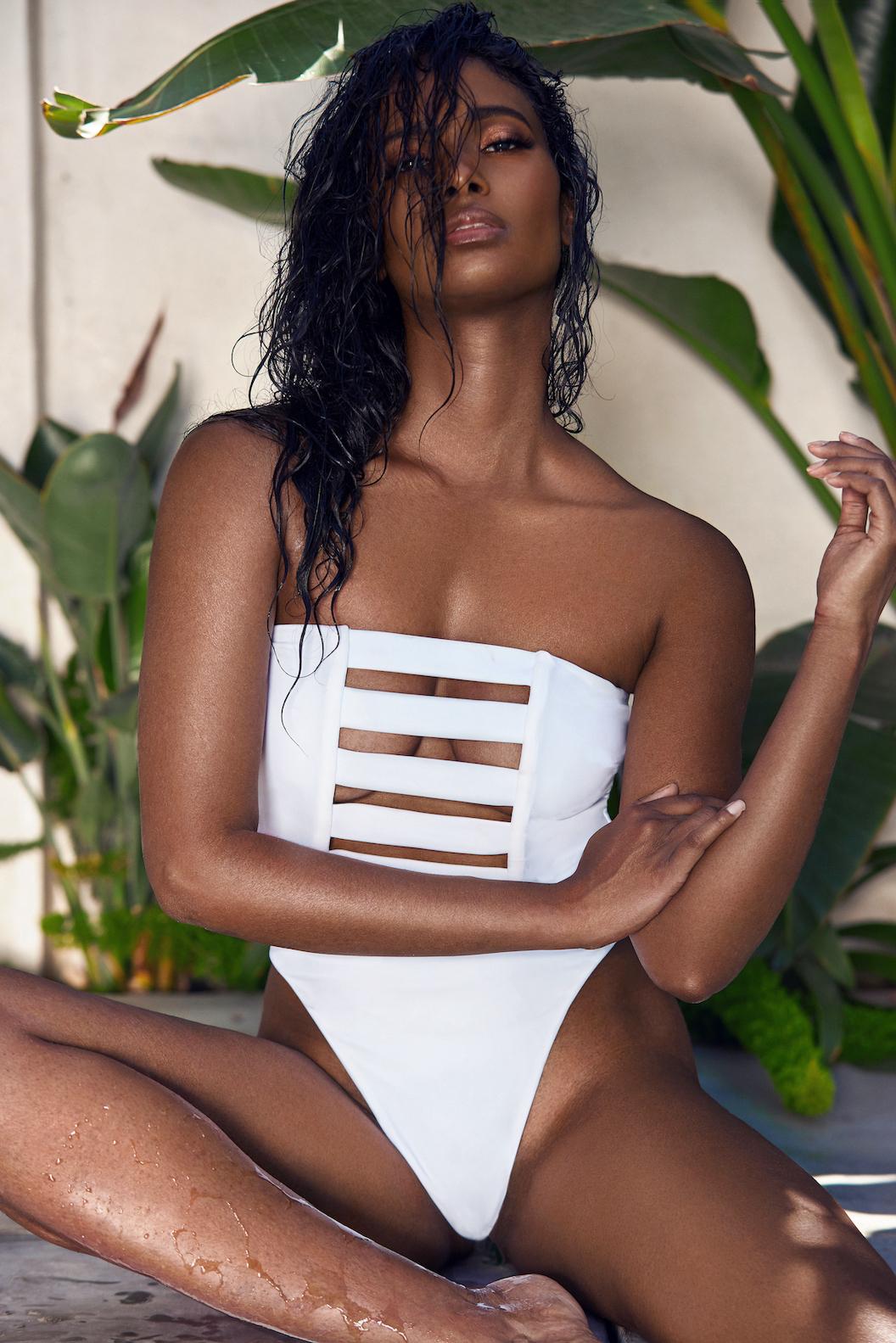 MBM Swim white high cut swimsuit white Zen