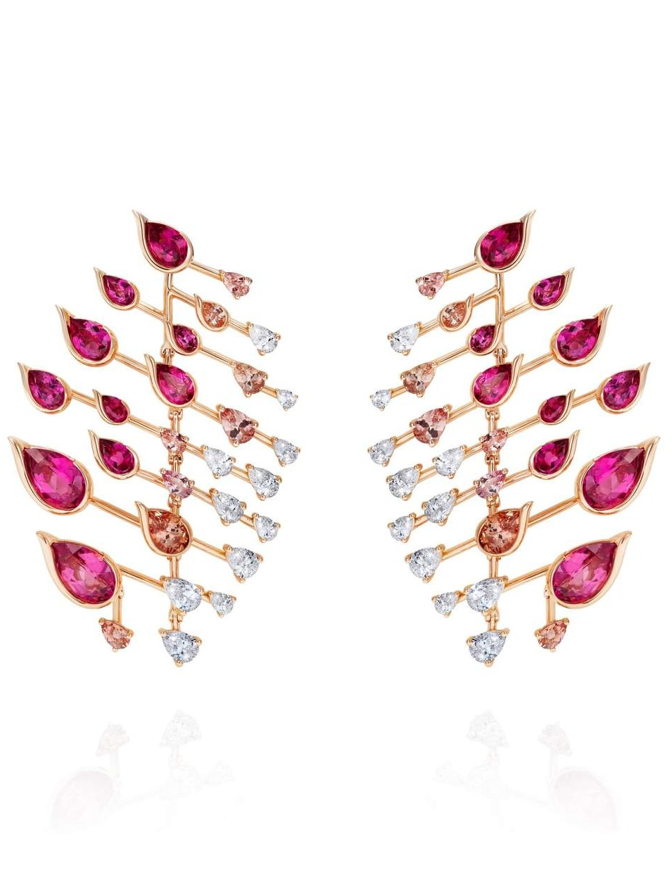 FERNANDO JORGE Rubellite Diamond and Topaz Flare Earrings