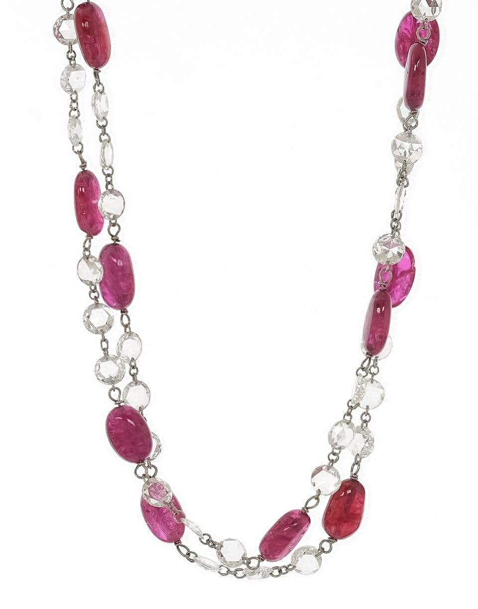 FRED LEIGHTON Rosecut Diamond and Ruby Bead Necklace