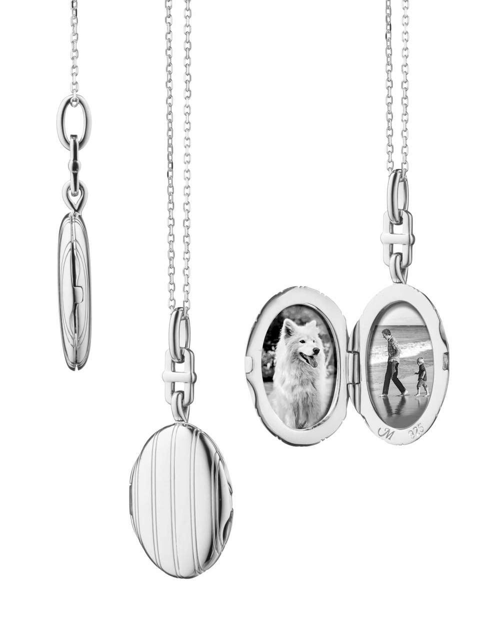 MONICA RICH KOSANN Slim Oval Pinstripe Eve Locket Necklace