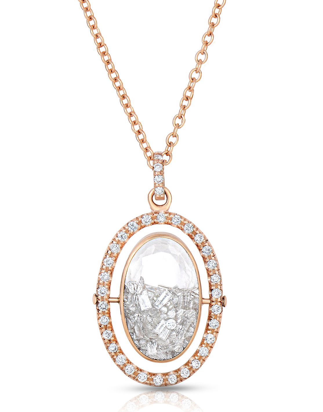MORITZ GLIK Oval Halo Diamond Shaker Necklace