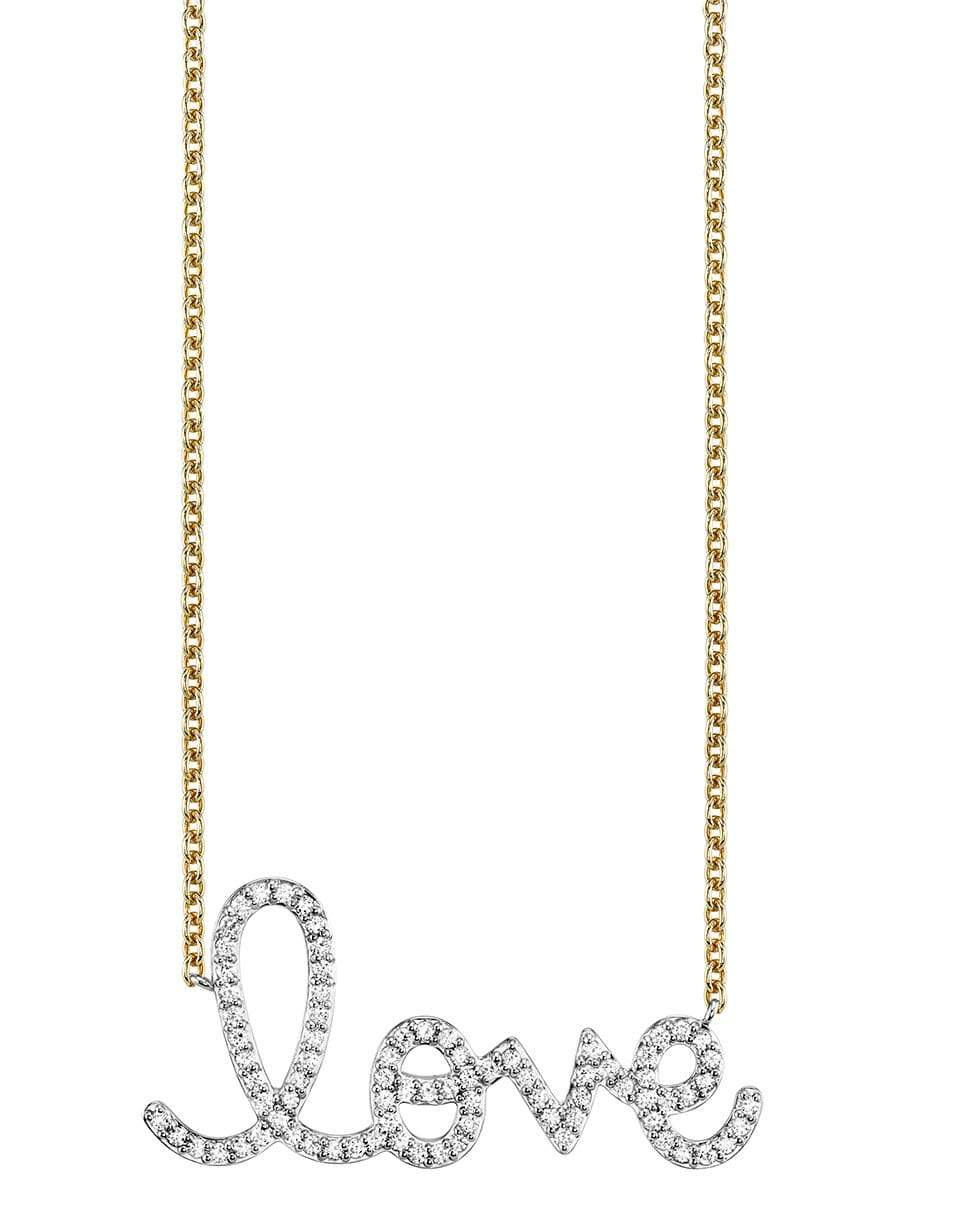 SYDNEY EVAN Big Pave Love Script Necklace