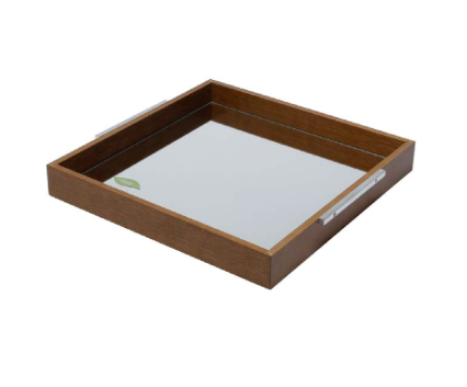 WOLFF Wooden Tray with Mirror