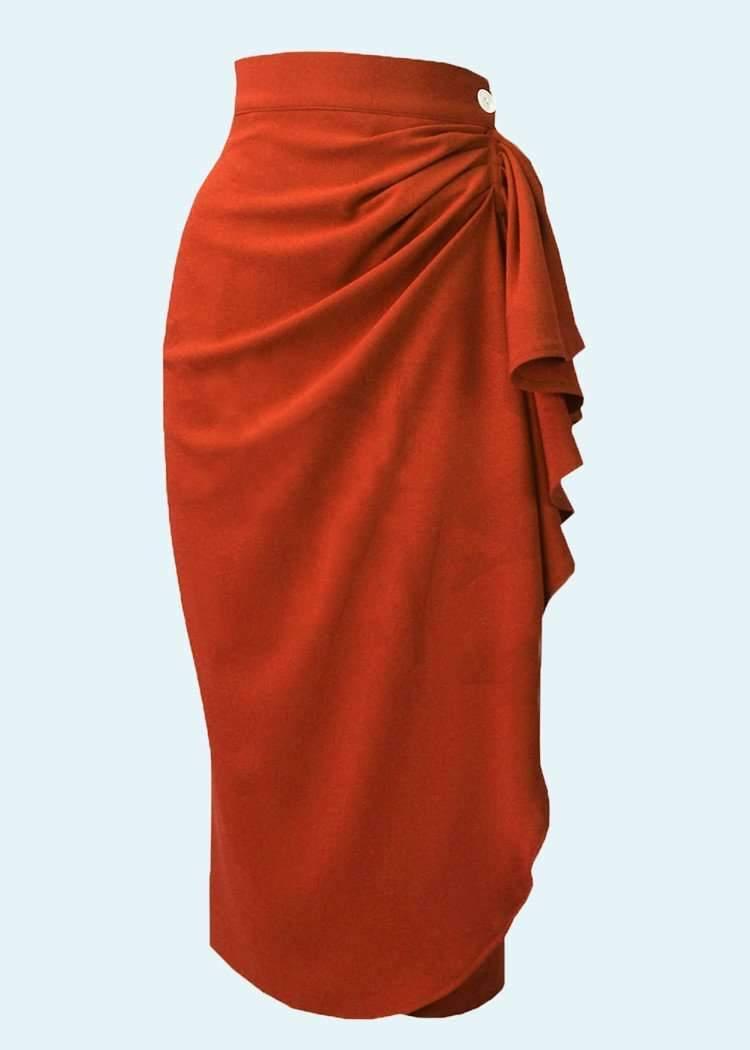 Rød pencil nederdel i vintagestil med drapering