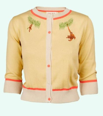 Knit blouse with orangutan embroidery