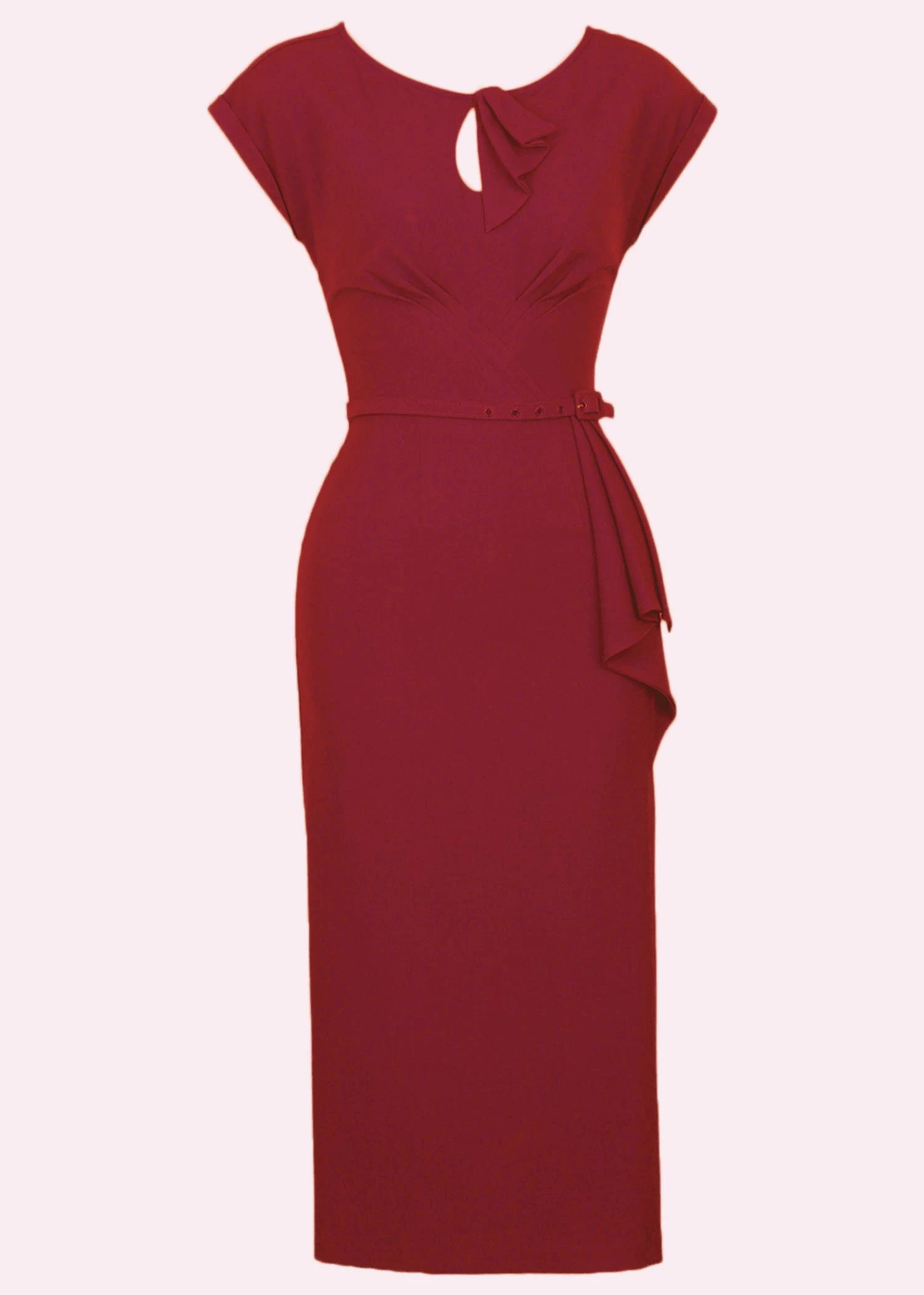 Red pencil dress with art deco details