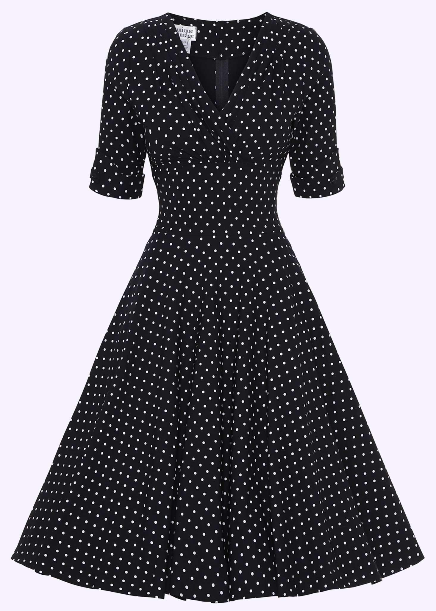 swing dress in black with small dots