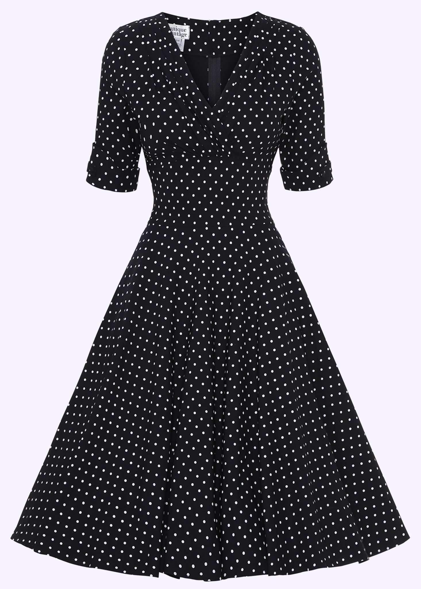 swingkjole i sort med små prikker