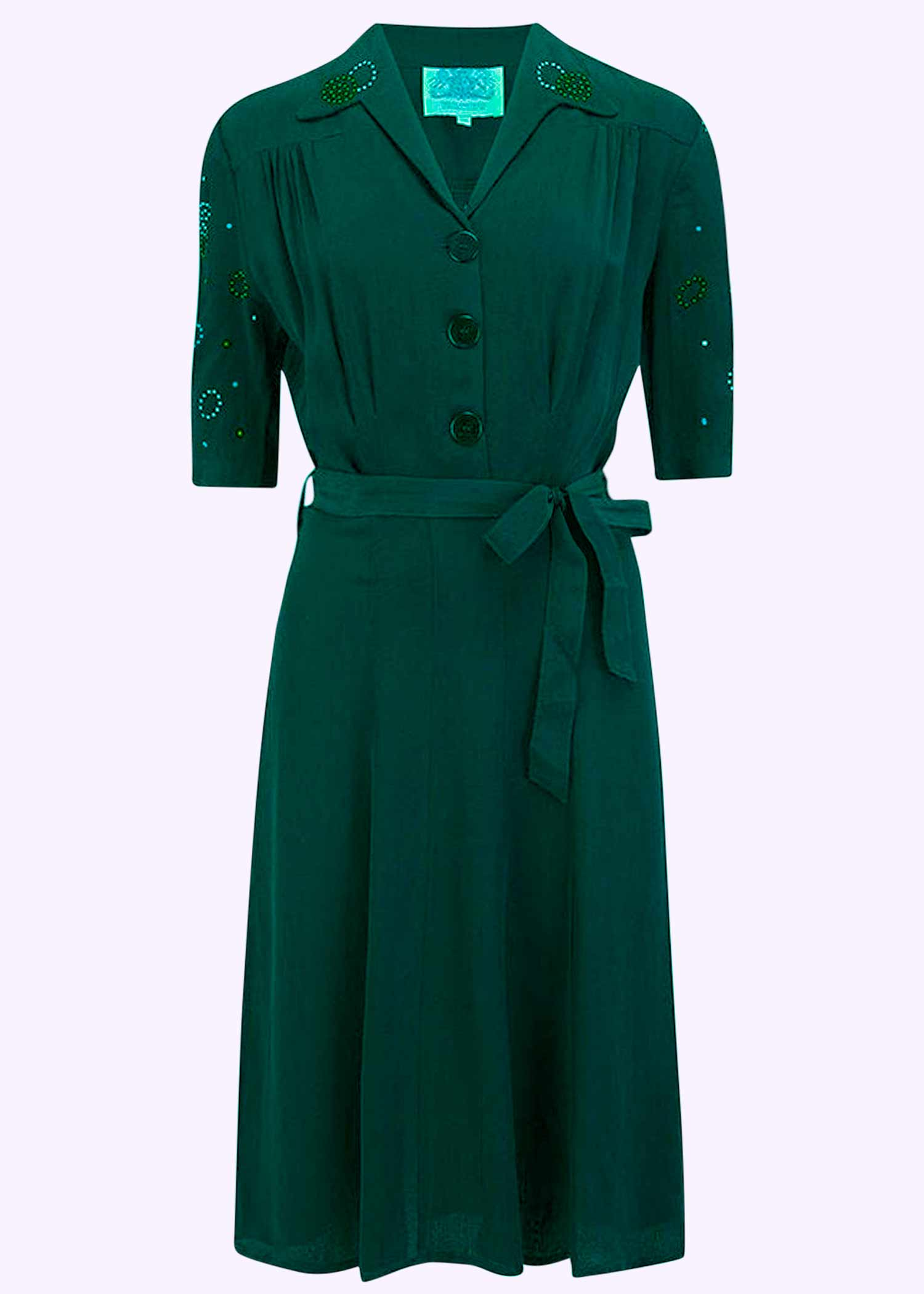 Green dress in 40s style from Bloomsbury