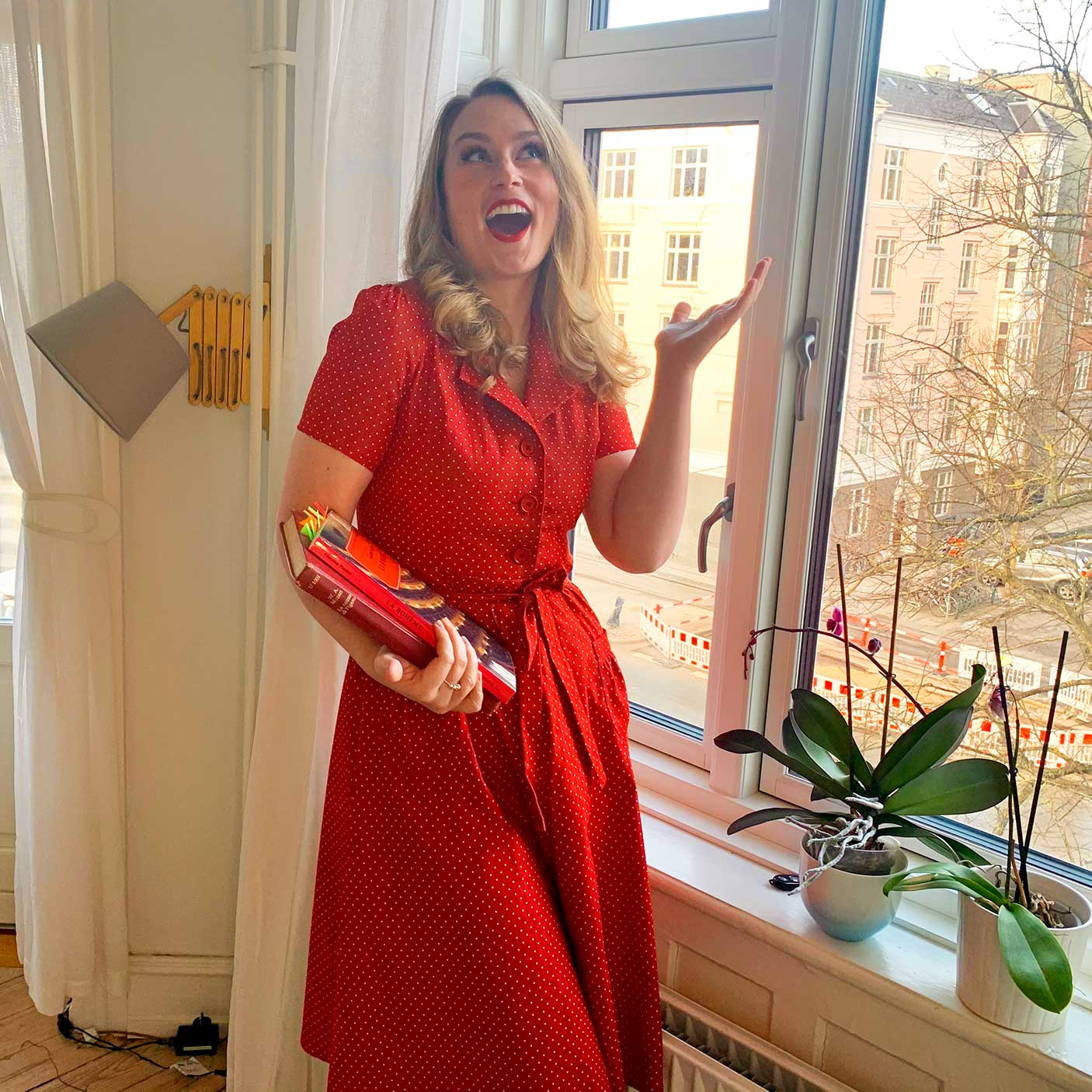 Red shirt dress with dots