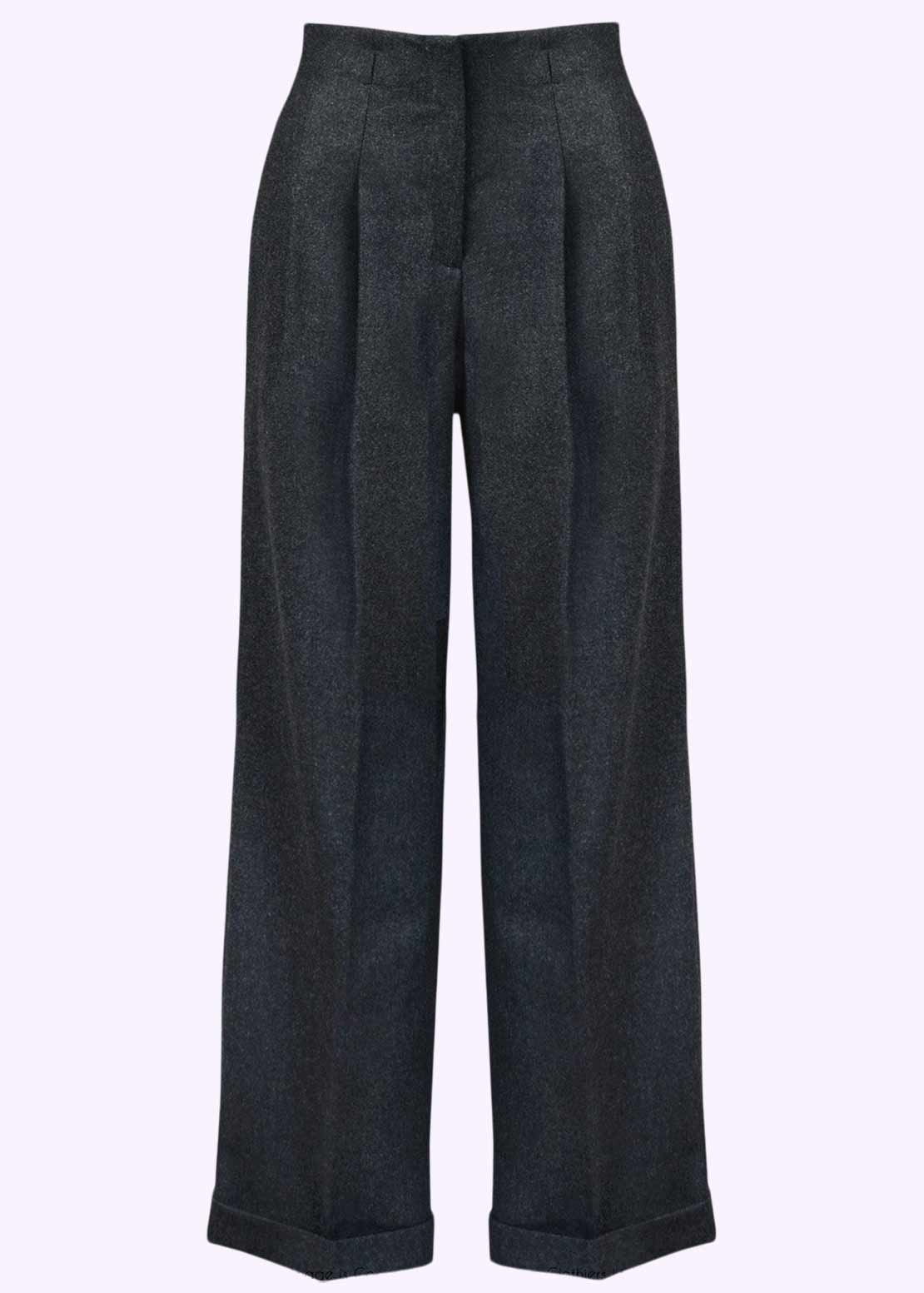 Gray Marlene pants with wide legs vintage style