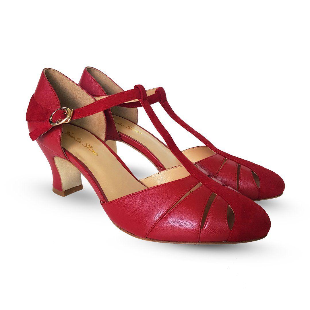 Højhælet røde sko fra Charlie Stone