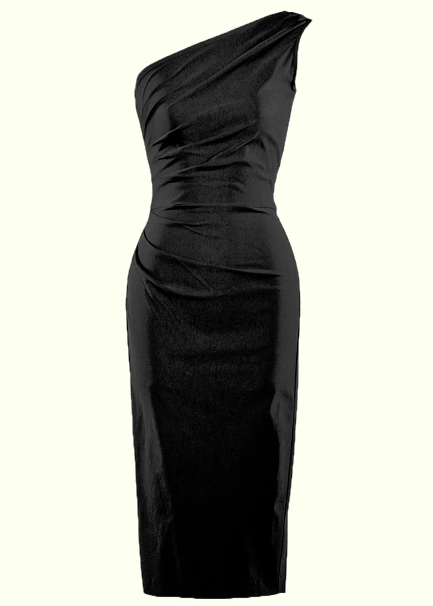 Beautiful asymmetrical free shoulder dress, the little black