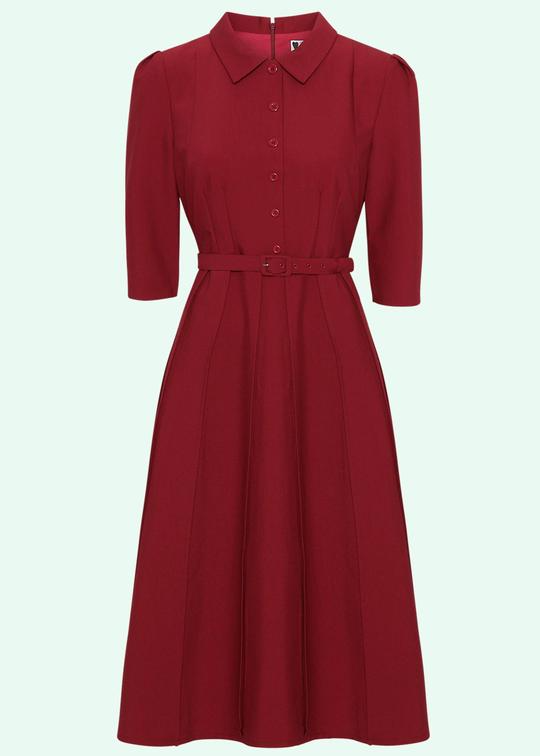Vintage stils skjortekjole i rød
