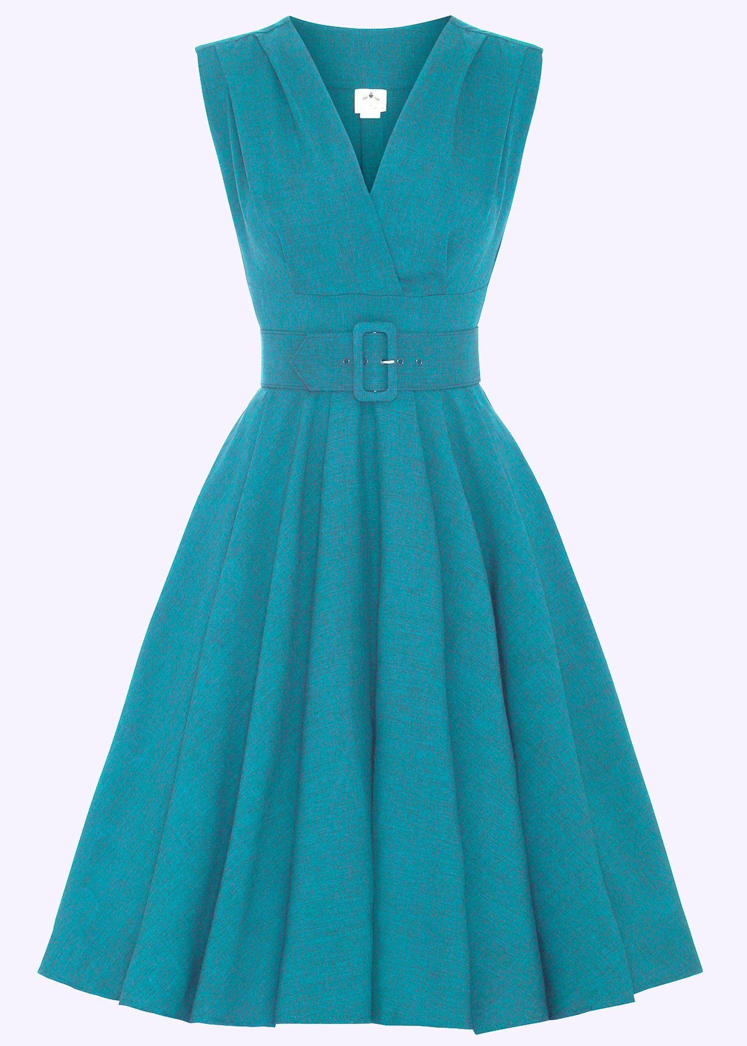 swing dress in teal