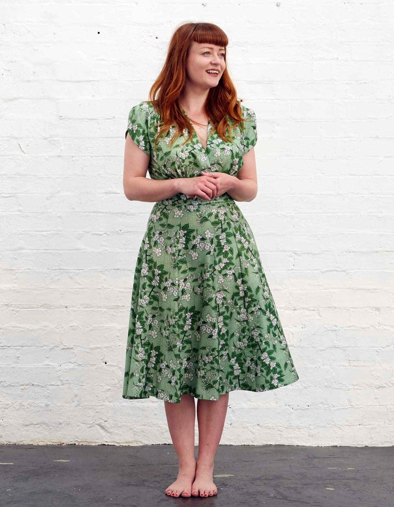 Vintage style dress with apple blossoms