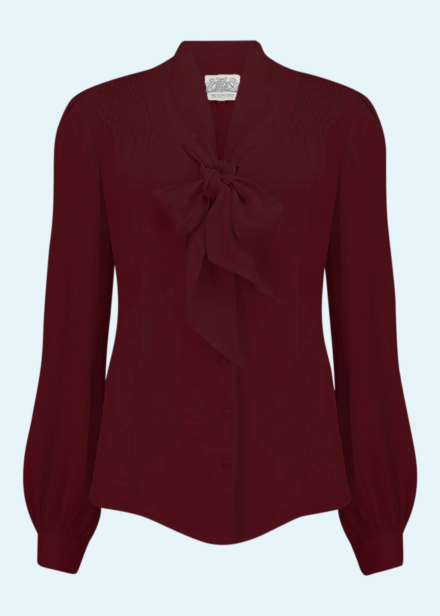 Long-sleeved shirt blouse with tie