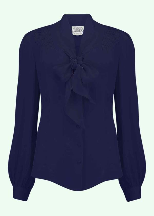 Eva shirt with tie bow in blue