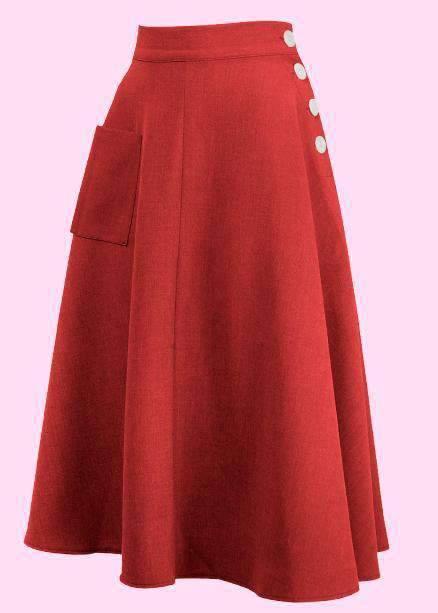 Whirlaway red swing skirt