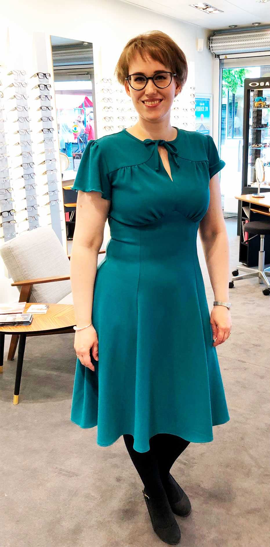 Beautiful vintage style grable dress from the house of foxy in teal
