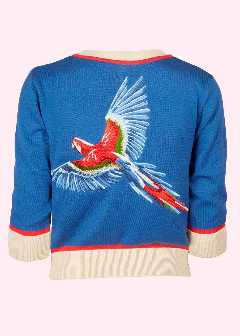Cardigan with parrot embroidery
