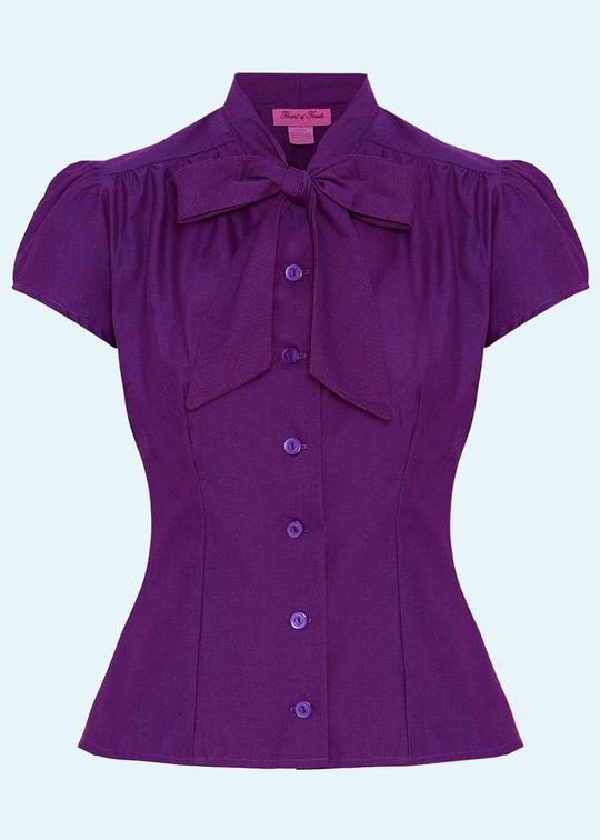 Estelle shirt with tie bow pussy bow in purple