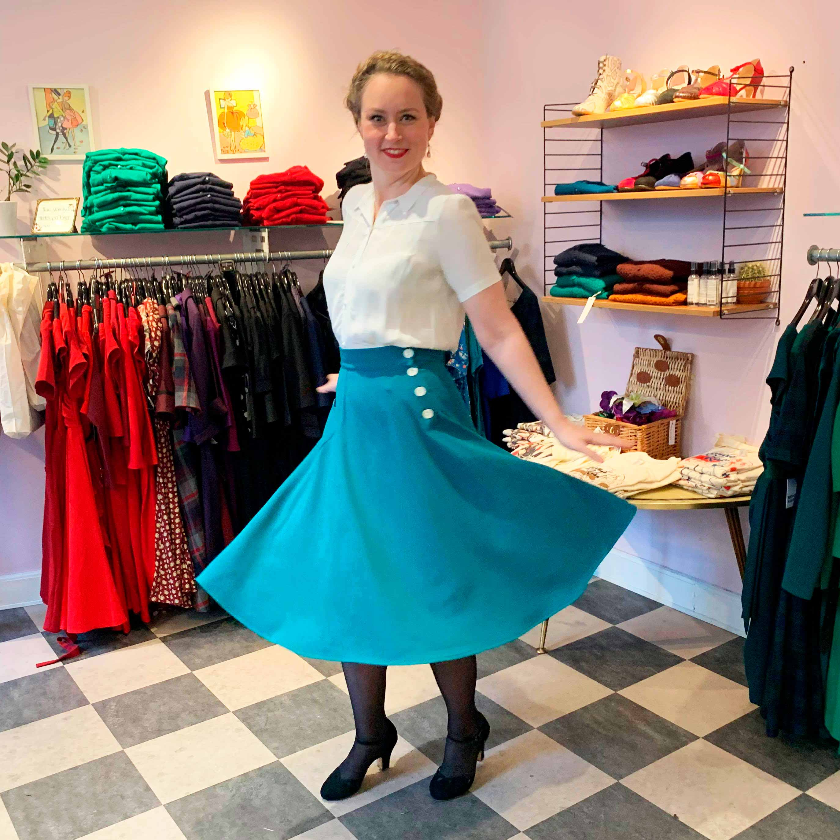 aline skirt in teal from The House Of Foxy