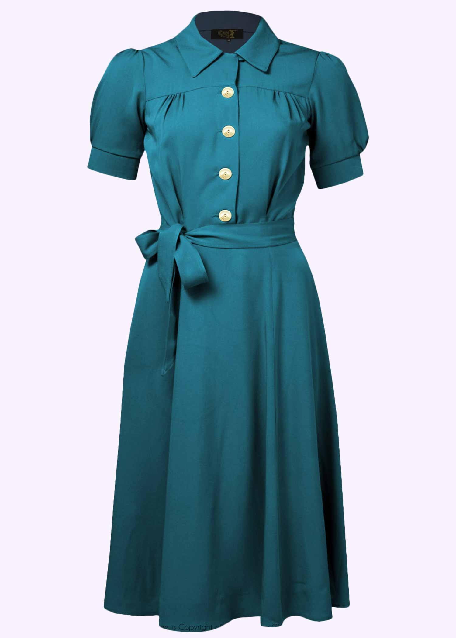vINTAGE STYLE SHIRT DRESS IN TEAL