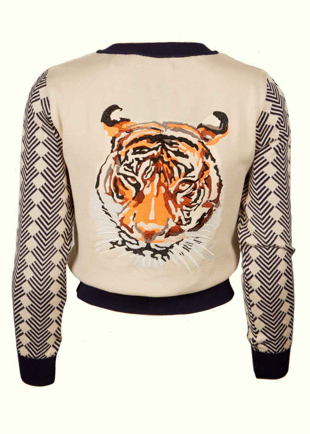 Cardigan i strik med tiger