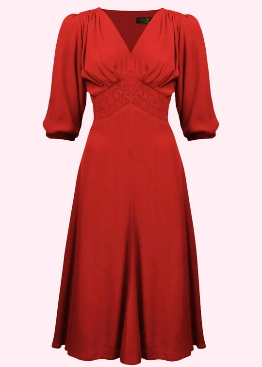Red A-line dress in vintage style from The House of Foxy