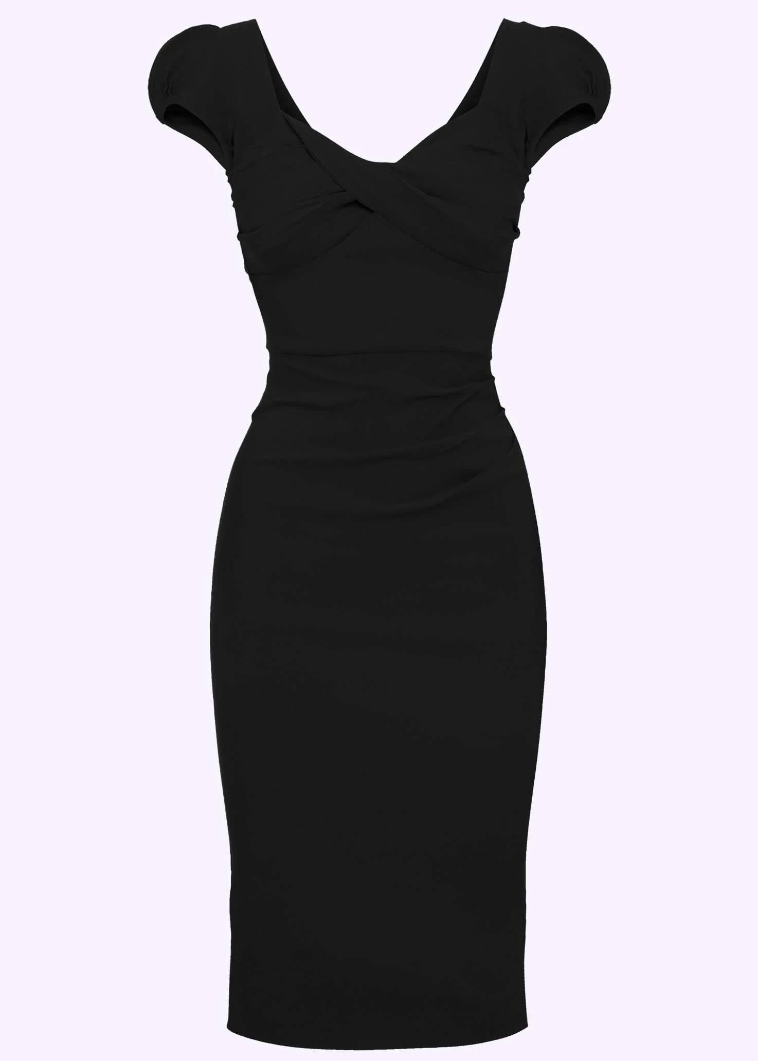 vintage style pencil dress with draping