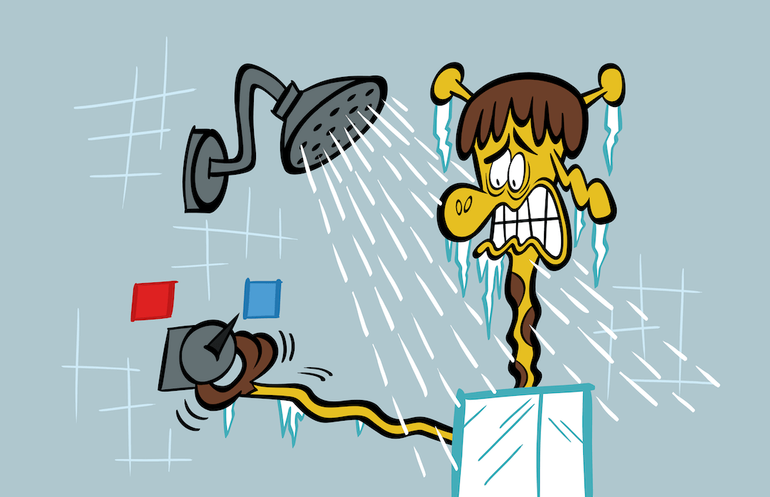 illustrated character having a cold shower