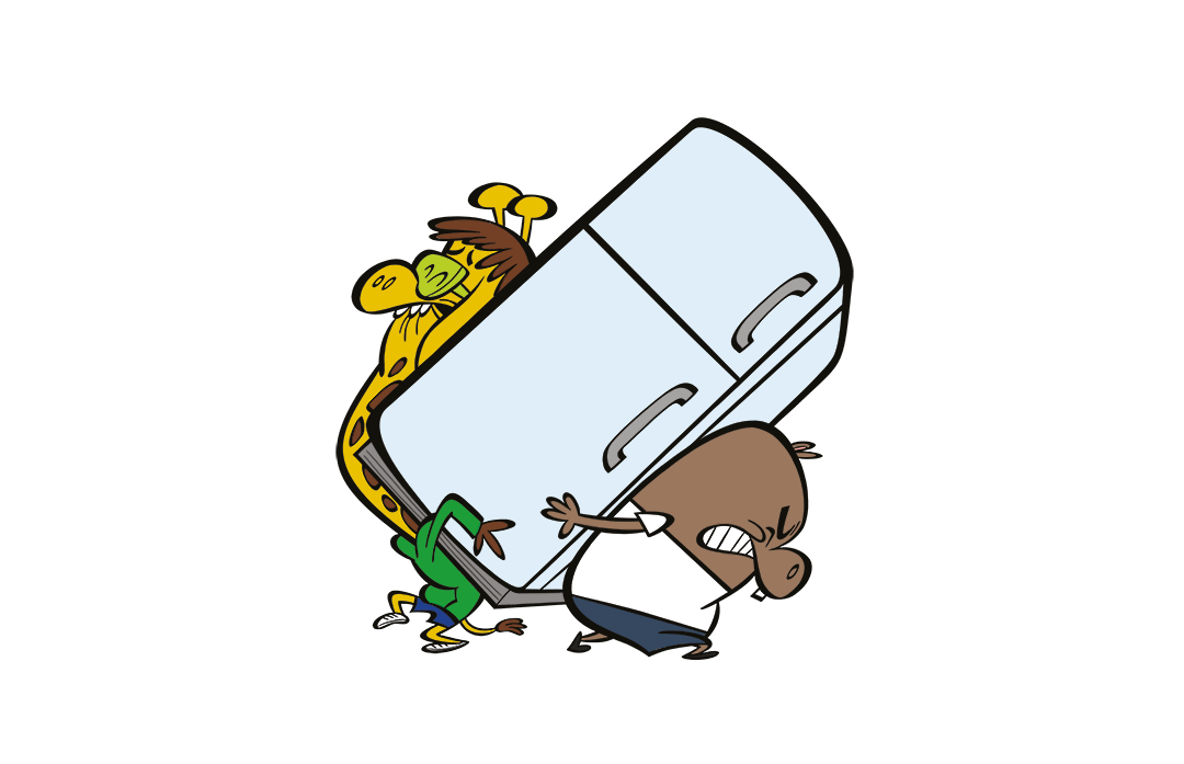 illustrated characters carrying a refrigerator