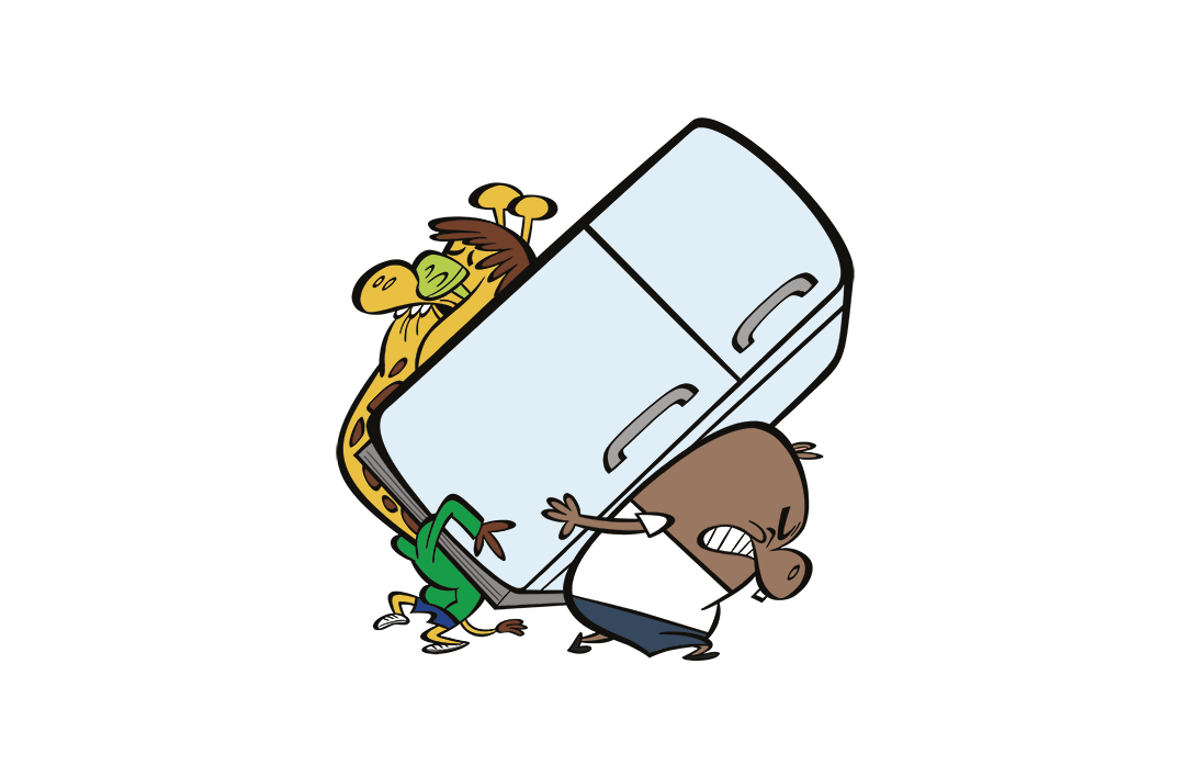 illustrated characters carrying a fridge together