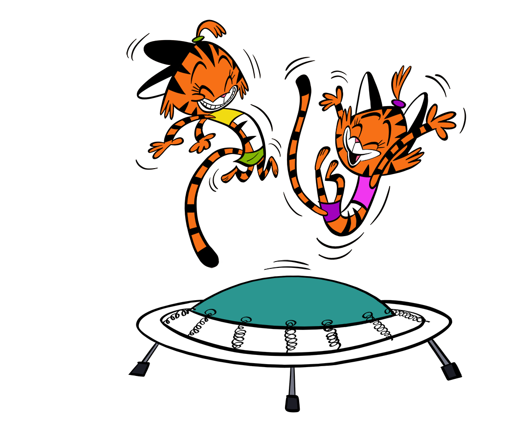 illustrated cats jumping on trampoline