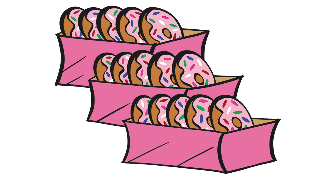 illustrated boxes of five doughnuts