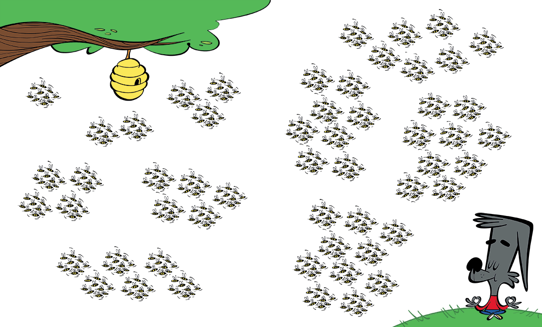 illustrated character with groups of ten bees