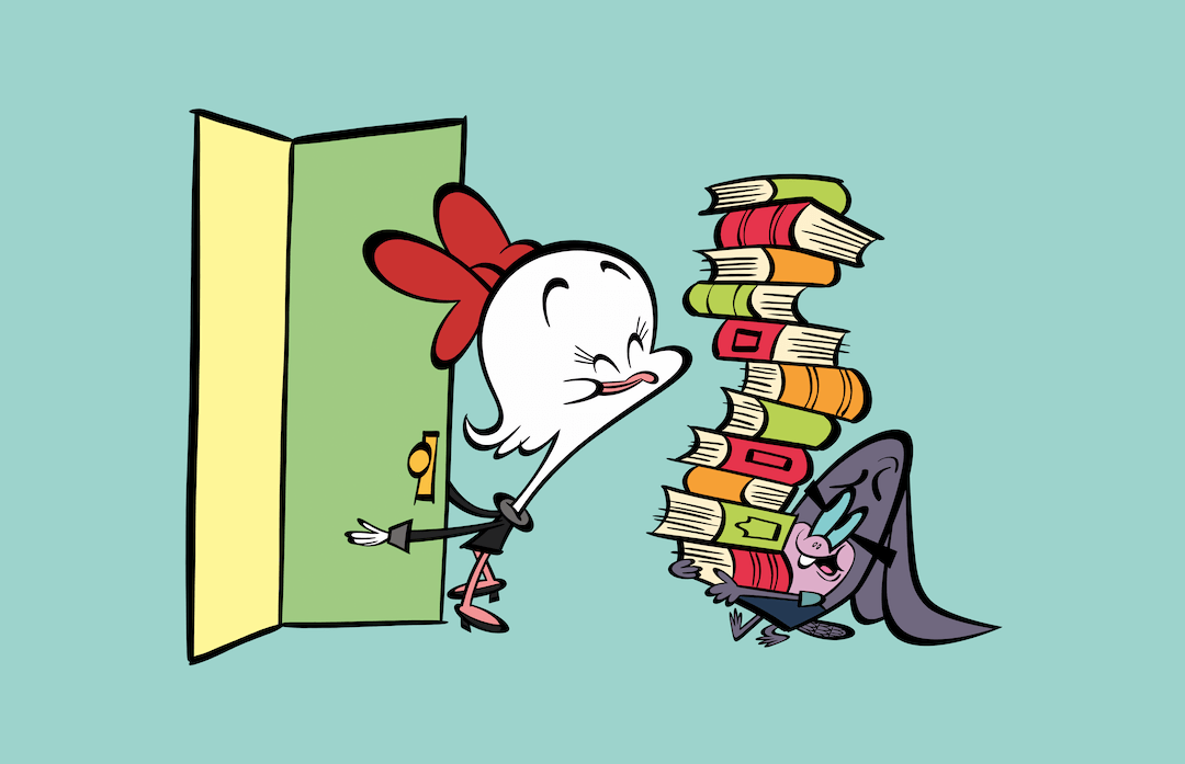 Oz the ostrich holding door for Armie the armadillo carrying lots of books