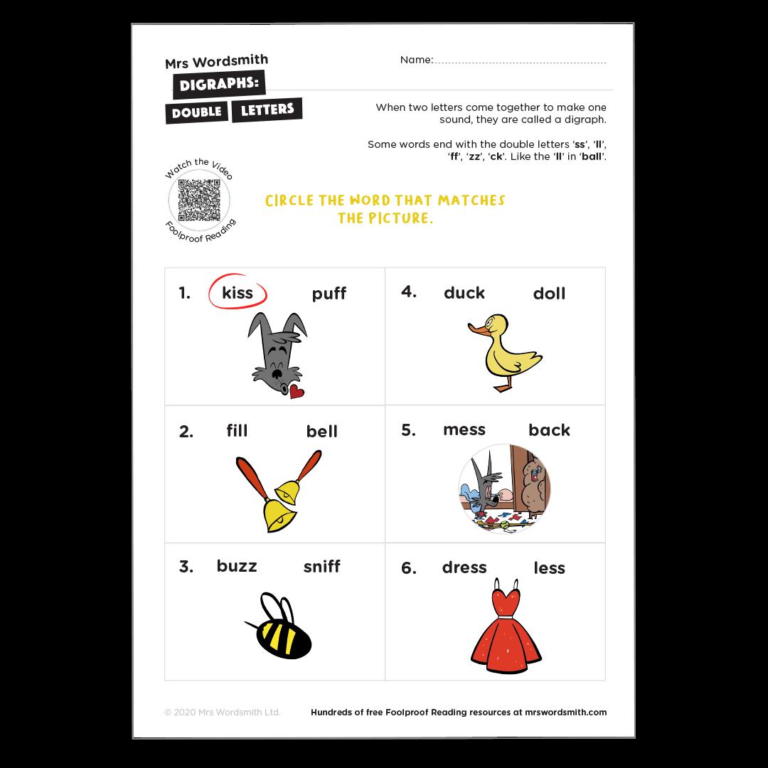 digraphs phonics worksheet
