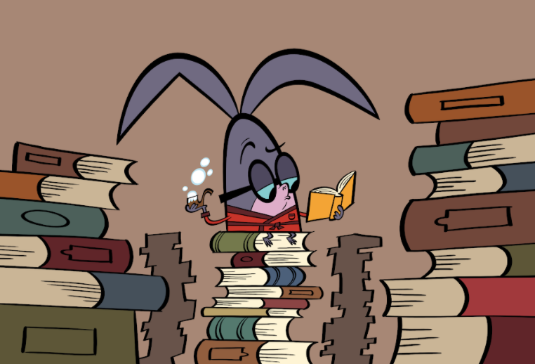 illustrated character with lots of books