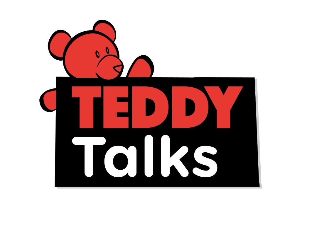 """teddy talks"" in style of ted talk logo"