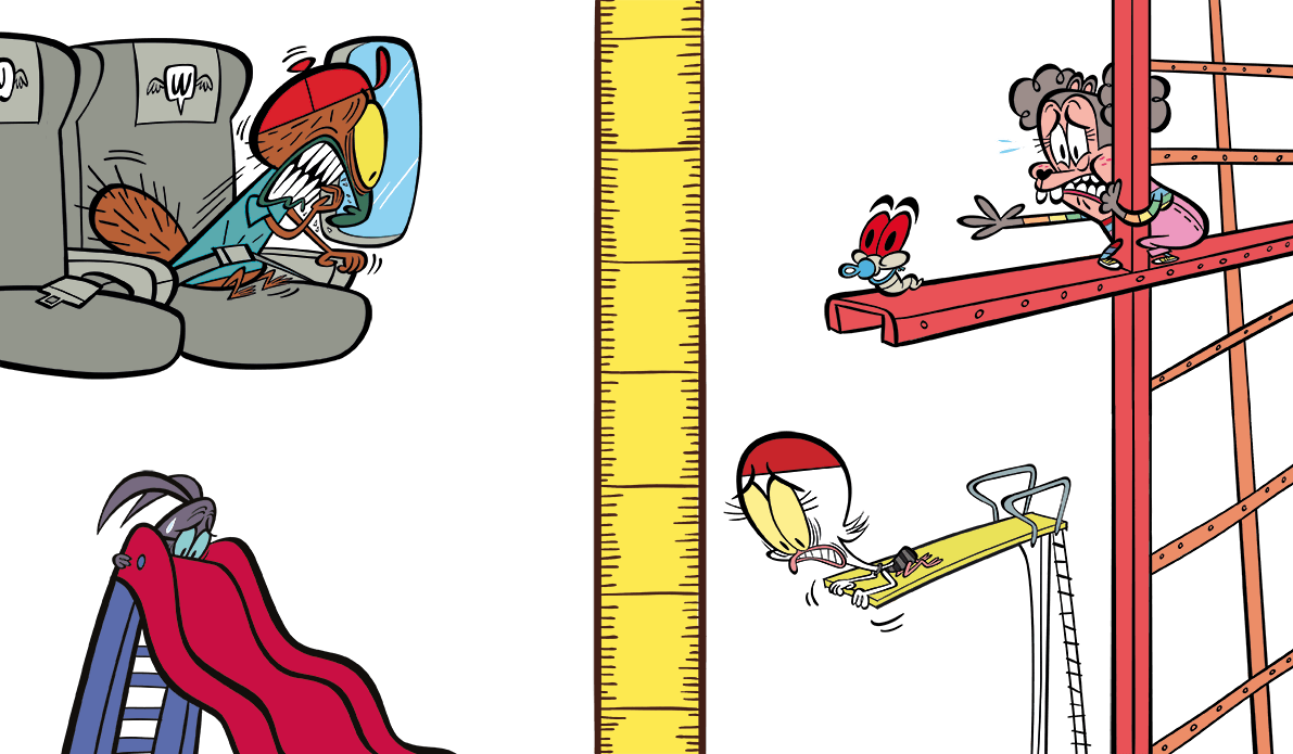 illustrated characters at different heights