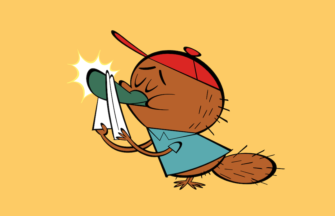 illustrated character polishing his nose