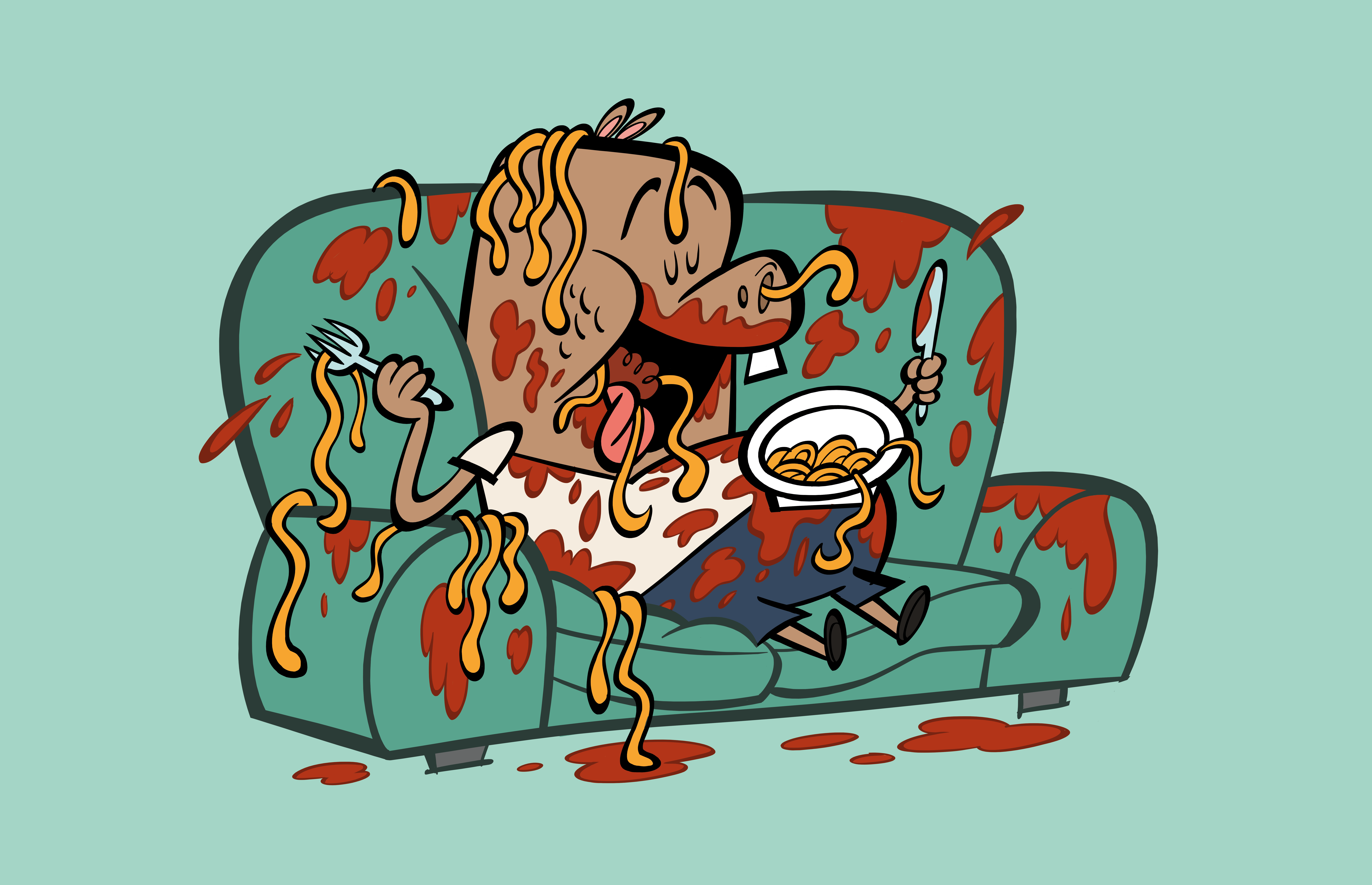 illustrated character eating messily